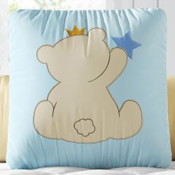 Almofada Quadrada Ursinho Coroa Azul