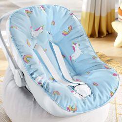 Capa de Bebê Conforto com Protetor de Cinto Amiguinhas Unicórnio Azul