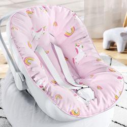 Capa de Bebê Conforto com Protetor de Cinto Amiguinhas Unicórnio Rosa