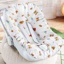 Capa de Bebê Conforto com Protetor de Cinto Raposinha Laranja