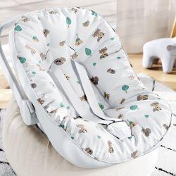 Capa de Bebê Conforto com Protetor de Cinto Raposinha Cinza