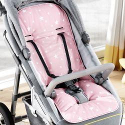 Capa de Carrinho com Protetor de Cinto Estrelinhas Rosa Bebê e Branco