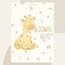 Pôster Adesivo Safári Aquarela Girafa