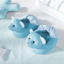 Pantufa de Bebê Ursinho Azul