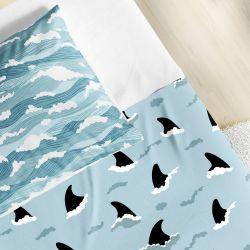 Jogo de Lençol Infantil Solteiro Tubarão e Ondas