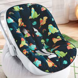 Capa de Bebê Conforto com Protetor de Cinto Dinossauros Coloridos Preto