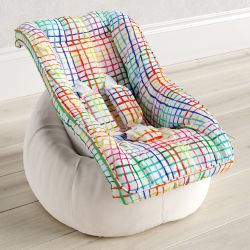 Capa de Bebê Conforto com Protetor de Cinto Xadrez Colorido
