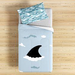 Edredom Infantil Tubarão no Fundo do Mar Azul