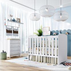 Quarto de Bebê Berço Branco + Cômoda Meli
