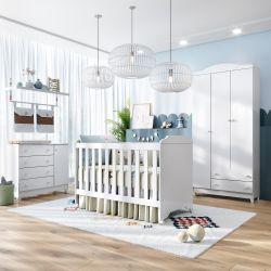 Quarto de Bebê com Berço + Cômoda 1 Porta + Guarda-Roupa Meli
