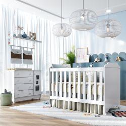 Quarto de Bebê Berço Branco + Cômoda c/ Porta Acrílico Meli