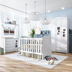 Quarto de Bebê com Berço + Cômoda 1 Porta + Guarda-roupa com Acrílico Meli