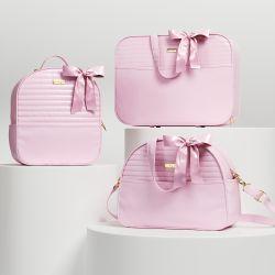 Conjunto de Mala, Bolsa e Mochila Maternidade Clássica Rosa 03 Pçs