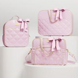 Conjunto de Mala, Bolsa e Mochila Maternidade Rosa e Bege Luxo 03 Pçs