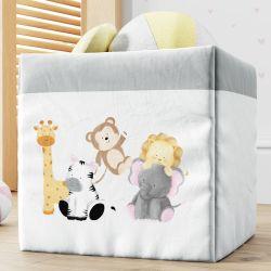 Cesto Organizador para Brinquedos Safári Aquarela 33cm
