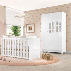 Quarto de Bebê Requinte com Berço/Guarda-Roupa 3 Portas com Colchão