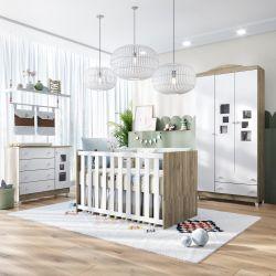 Quarto de Bebê Berço Madeira + Cômoda c/ Porta Acrilico + Guarda Roupa 3 Portas Acrílico Meli