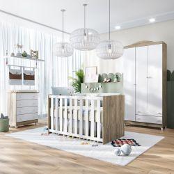Quarto de Bebê Berço Madeira + Cômoda + Guarda Roupa 3 Portas Meli