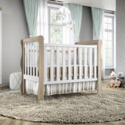 Quarto de Bebê Mila Amadeirado com Berço/Cômoda/Guarda-Roupa de 2 Portas com Colchão
