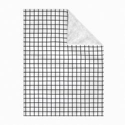 Cobertor Dupla Face com Soft Quadriculado Preto e Branco 1M
