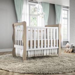 Quarto de Bebê Mila Amadeirado com Berço/Cômoda 1 Porta/Guarda-Roupa de 4 Portas com Colchão