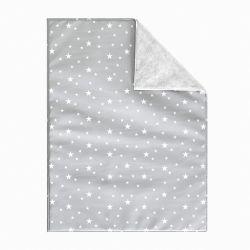 Cobertor Dupla Face com Soft Estrelinhas Cinza Algodão 1M