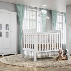 Quarto de Bebê Mila com Berço/Cômoda/Guarda-Roupa de 4 Portas com Colchão