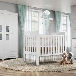 Quarto de Bebê Mila com Berço/Cômoda 1 Porta/Guarda-Roupa de 4 Portas com Colchão