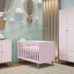 Quarto de Bebê Ludi Retrô Rosa com Berço/ Cômoda/ Guarda-roupa 3 Portas com Colchão