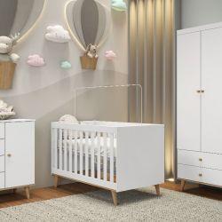 Quarto de Bebê Ludi Retrô Branco com Berço/ Cômoda/ Guarda-roupa 3 Portas com Colchão