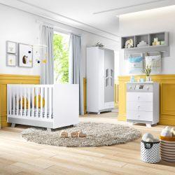 Quarto de Bebê Retrô Chique Branco/Cinza com Berço/Cômoda/Guarda-Roupa de 3 Portas com Colchão