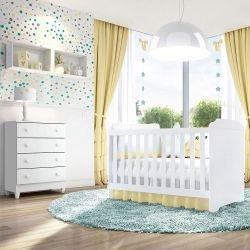 Quarto de Bebê Mel Flat com Berço/Cômoda com Colchão