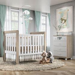 Quarto de Bebê Mila Amadeirado com Berço/Cômoda com Colchão