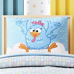 Fronha de Travesseiro Infantil Galinha Pintadinha Azul