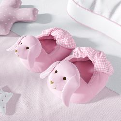 Pantufa de Bebê Coelhinho Rosa