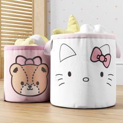 Cestos Organizadores para Brinquedos Hello Kitty e Ursinha Tiny Chum 2 Peças