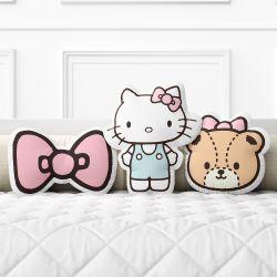 Almofadas Boneca Hello Kitty, Laço e Tiny Chum 3 Peças