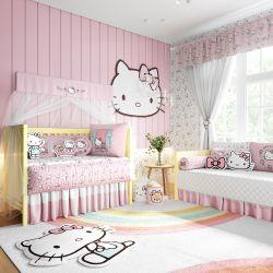 Quarto de Bebê Hello Kitty Rosa 38 Peças
