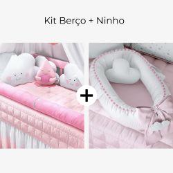 Kit Berço Amiguinhas Nuvem + Ninho para Bebê Redutor de Berço Nuvem de Algodão Rosa