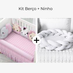 Kit Berço Amiguinhas Safári Rosa + Ninho para Bebê Trança Branco