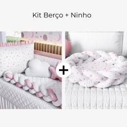 Kit Berço Trança Estrelinha Rosa + Ninho para Bebê Trança Estrelinhas Rosa
