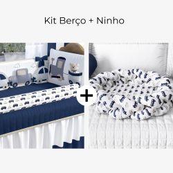 Kit Berço Carrinhos Azul Marinho + Ninho para Bebê Trança Carrinhos Azul Marinho