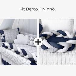 Kit Berço Trança Poá Azul Marinho + Ninho para Bebê Trança Azul Marinho e Cinza