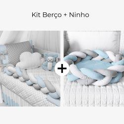 Kit Berço Trança Poá Azul Bebê + Ninho para Bebê Trança Azul e Cinza