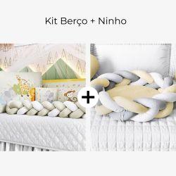 Kit Berço Trança Selva Baby + Ninho para Bebê Trança Amarelo e Cinza
