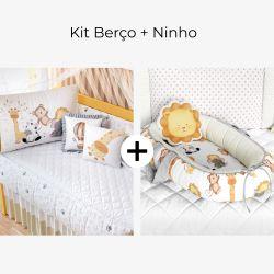 Kit Berço Safári Aquarela + Ninho para Bebê Redutor de Berço Safári Aquarela