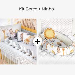 Kit Berço Trança Safári Aquarela + Ninho para Bebê Redutor de Berço Safári Aquarela 80cm