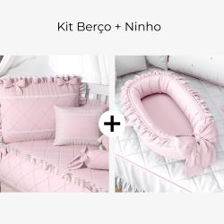 Kit Berço Rosa Clássico + Ninho para Bebê Redutor de Berço Rosa Clássico
