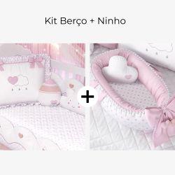 Kit Berço Chuva de Amor + Ninho para Bebê Redutor de Berço Pompom e Corações