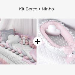 Kit Berço Trança Poá Rosa + Ninho para Bebê Redutor de Berço Poá Rosa/Cinza